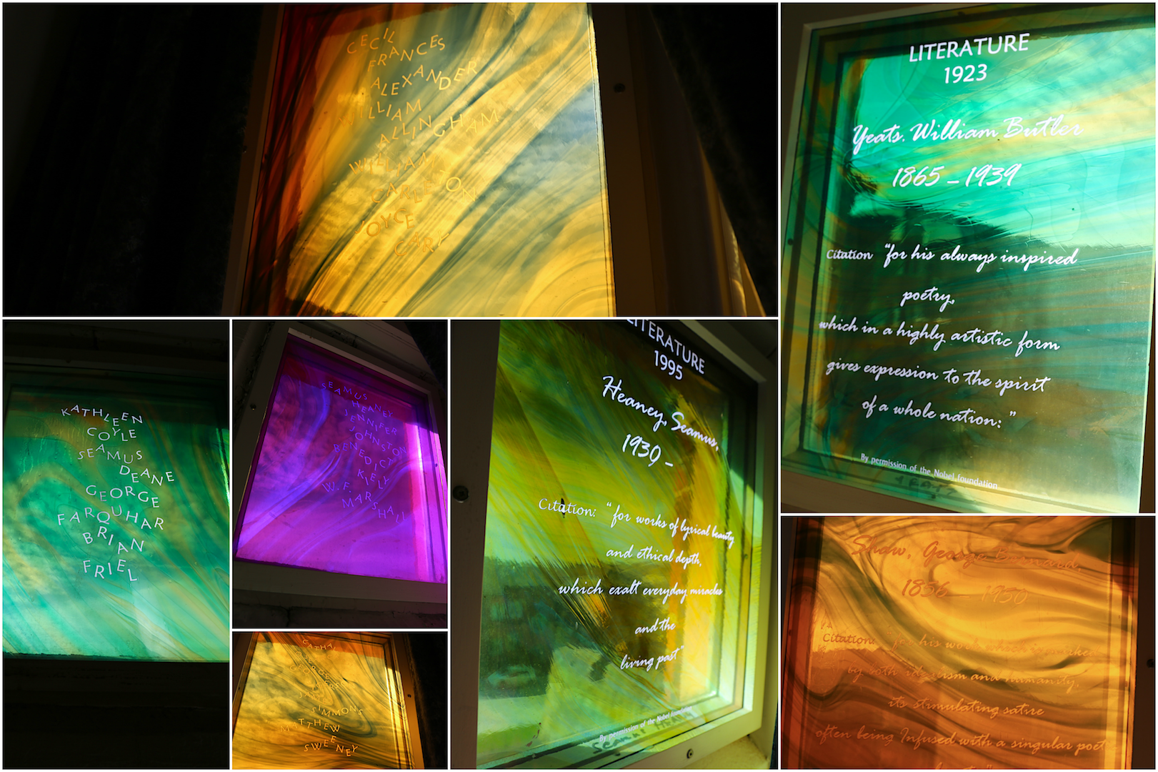 Collage of stained glass celebrating Irelands four nobel laureates for literature