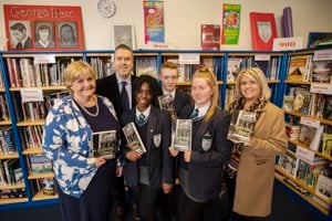 James Kerr, Gilly Campbell, Malone School staff and pupils